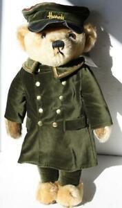 """Merrythought Bell Hop Doorman Teddy Bear Green Velvet 17"""" Standing Hat Coat-CUTE"""