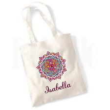 """Colore PERSONALIZZATO """"NOME"""" Mandala Canvas Tote Bag-Regalo per Ragazze Signore Donne"""