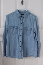 OLD NAVY womens shirt CHAMBRAY long sleeve ANCHORS size M chest pockets EC