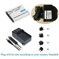 DB-110 Li-ion Rechargeable Battery +Charger for Ricoh GR-III Digital Camera