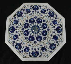 18 Inches Marble Coffee Table Top Inlay with Floral Design Corner Table for Home