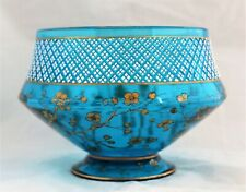 ANTIQUE BOHEMIAN MOSER TURQUOISE GLASS GOLD PAINTED CHERRY BLOSSOM BOWL