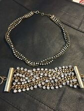 BR Brass Necklace And Bracelet With Rhine Stones Set