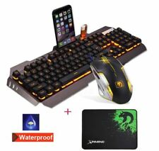 Keyboard and Mouse USB Wired Yellow Mechanical LED Backlight Handfeel Gaming USA