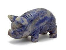 Pig Blue Sodalite Hand Carved Gemstone Animal Totem Statue Stone Sculpture