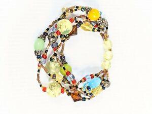 Artisan Colorful Glass Bead Multi Strand Stretch Bracelets