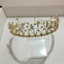 Gold plated alloy diamante & crystal spiked spray style Tiara 2627G