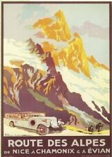 FRENCH VINTAGE POSTER 50x70cm ROAD ALPS France FROM NICE TO CHAMONIX