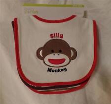 New Baby Starters 3 Piece Silly SOCK MONKEY Bib Set