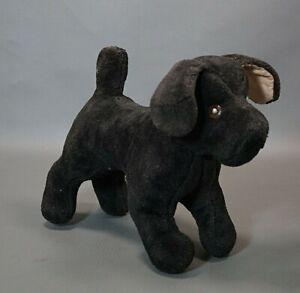 Antique German Cloth Stuffed Mohair Plush Cute Black Puppy Dog Glass Eyes Toy