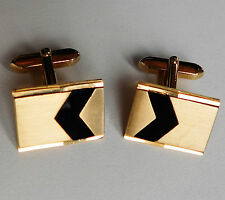 Vintage West German cufflinks black chevron gold-tone 1970s 1980s u