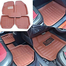 5Pc Car Floor Mats Front&Rear Liner Waterproof Mat Carpet Brown