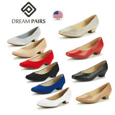 DREAM PAIRS Women Slip On Pump Shoes Low Chunky Heel Round Toe Pump Shoes
