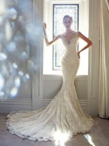 Best Selling Illusion Lace Beading Mermaid wedding gown, UK tailor, custom made