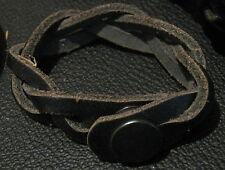 Lovely plaited dark brown leather bracelet with popper fastening