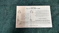 LIONEL # 75 TEAR DROP LAMP INSTRUCTIONS PHOTOCOPY