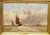 Fine 19th Century English Medway Shipping Marine Oil Painting George STAINTON