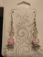 Intricate, delicate, handmade pink and white glass bead earrings~ silver accents