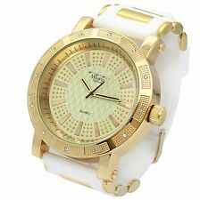 Mens Gold Case Iced Hip Hop Fashion White Silicone Quartz Wrist  Watch millano