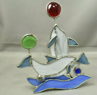 Stained Glass Votive Dolphins Playing with Ball Wave Runners Ocean Beach Sun