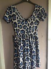 Asos White/Blue Animal Print Jersey Skater Dress Size 6