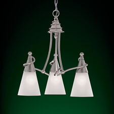 Searchlight 2323-3 Genie 3-Light Satin Silver Pendant Light - Opaque Cone Shades