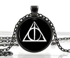 Harry Potter Necklace Black Deathly Hallows Symbol Jewelry Fantasy Gifts for Her