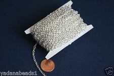 45ft spool Silver Plated Round Cable Chain 2.6X3.9mm
