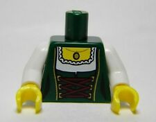 LEGO - Torso Female Laced Corset w/ White Blouse & Gold Pendant - Dark Green