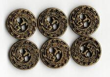 6x Vintage Metal Dragon Brass Buttons - 10mm Jacket Cuff ~ Bennett's Buttons