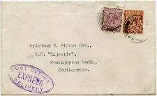 GB POST OFFICE consegna Express per la spedizione SS MAJESTIC 1929 Kg5 7 1 / 2D franking
