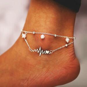 Bohemian Summer Beach Anklet Bracelet Pearl Electrocardiogram Women JewelryB^lk