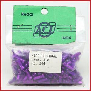 NOS ACI ERGAL NIPPLES 1.8mm 144pc PURPLE VINTAGE 80s 90s MTB ROAD LIGHTWEIGHT