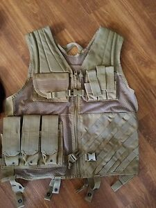 LANCER TACTICAL CROSS DRAW VEST FULLY ADJUSTABLE TAN Airsoft Combat NICE!