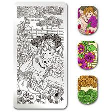 Nail Art Stamping Plate Rectangle Pig Floral Pattern Image Template Born Pretty