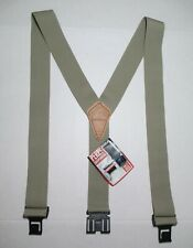 """NWT Perry 2"""" Wide Leather Suspenders Tan Belt Clips Studs Size Regular USA"""