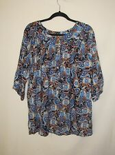 Queen Blue Paisley Multi Color Button Down Tunic Dress Top Size XL