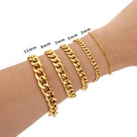 Cuban Link Stainless Steel Chain Bracelet For Men Silver Black Gold 3/5/7/9/11mm