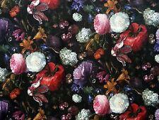 PEONY VELVET BLACK MULTI T143 FLORAL CURTAIN SOFT FURNISHING FLOWERS FABRIC