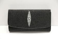 Genuine Stingray Leather Ladies' Wallet, Black (02-337)