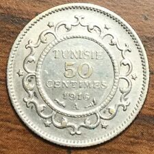 1916 a Silver Tunisia  50 Centimes Coin Paris Mint