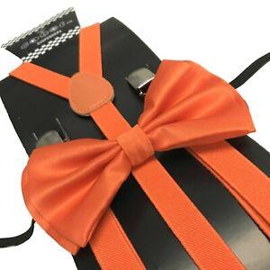 Orange Slim Suspender and Bow Tie Set for Teenagers Adult Men Women (USA SELLER)