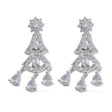 Earrings Elegant Evening Wear 45 Cts Vvs White Dangle Chandelier Silver Tone