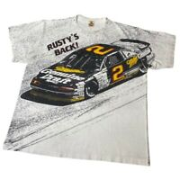 Vintage NASCAR All Over Print Rusty Wallace 2 Adult AOP T-Shirt White 1990 XL