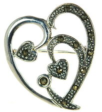 Heart Pin Brooch ' Solid 925 Sterling Silver Marcasite