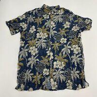 Foundry Button Up Shirt Men's Size 2XLT Short Sleeve Navy White Floral Hawaiian