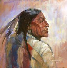 Original Oil painting Apache Chief Indian Western Art Jackson hole