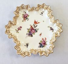 A Beautiful Antique Hexagonal Dish with Handpainted Floral Decoration