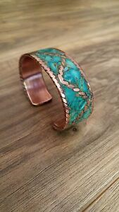Custom Handmade Tribal Copper Bracelets with Natural Turquoise