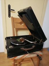 POLYDOR Retro mechanical gramophone with bakelite records and with crank